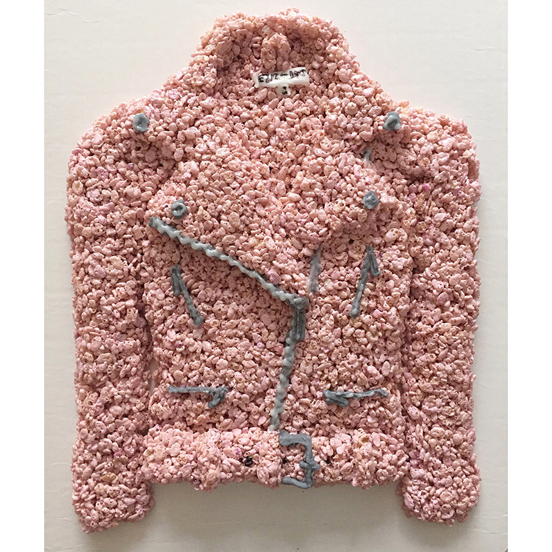 pink leather jacket made of rice krispies treats