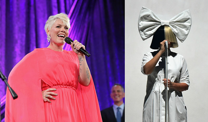 Side-by-side of P!nk and Sia performing at different events