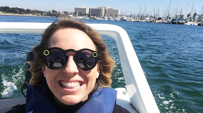 Brittney on a speedboat in San Diego
