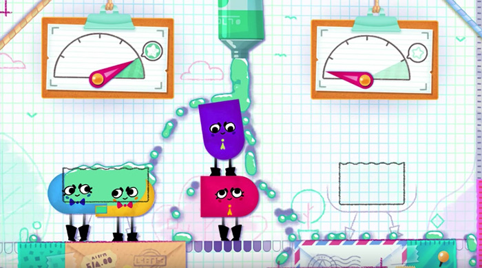 Snipperclips on Nintendo Switch solving four person puzzle