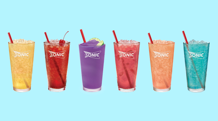 Colorful Sonic drinks on a teal background