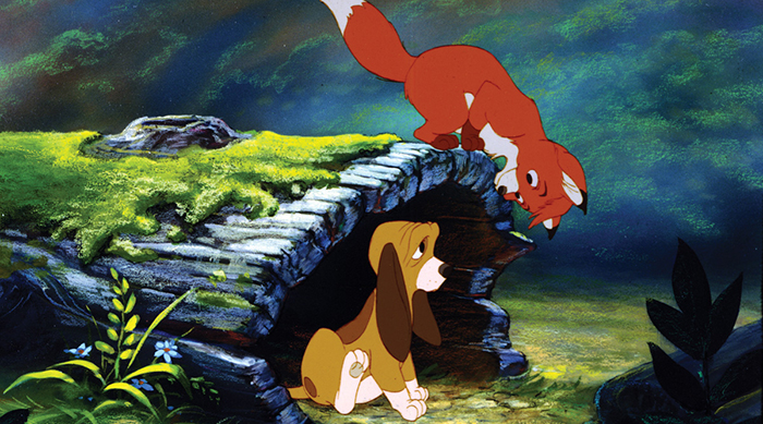 Tod and Copper playing in Disney's The Fox and the Hound