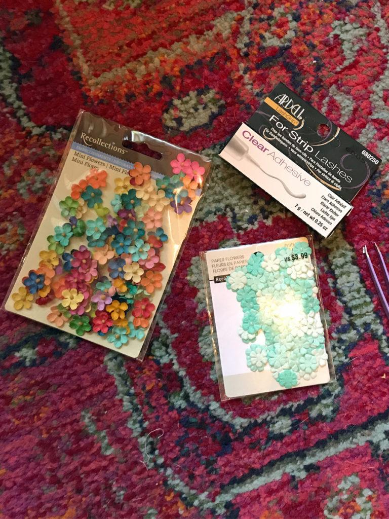 DIY Items Fabric Flowers Eyelash Glue Tweezers