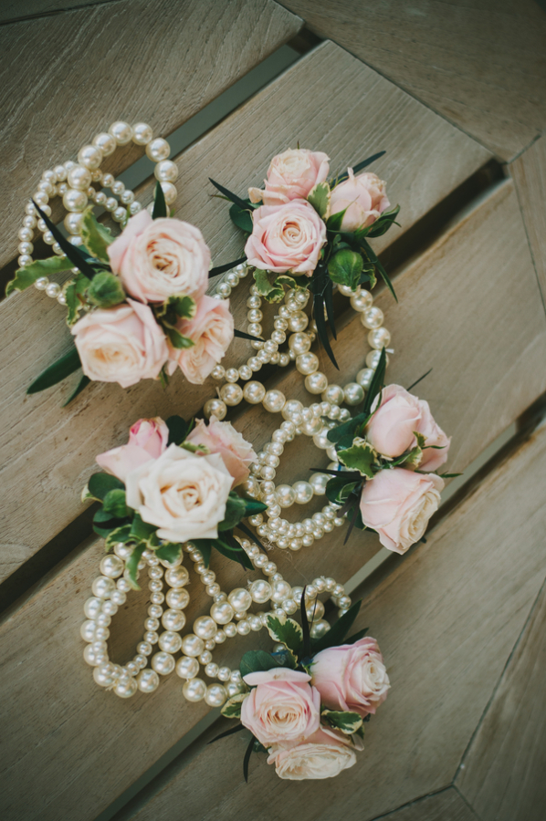 Pink and pearl corsage