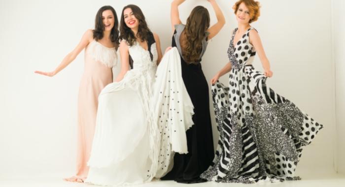 Girlfriends in long dresses