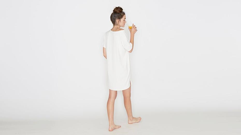 Recliner Bamboo Night-Tee Sleep Dress in white
