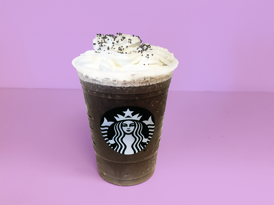 Black Starbucks Frappuccino ingredients with whip