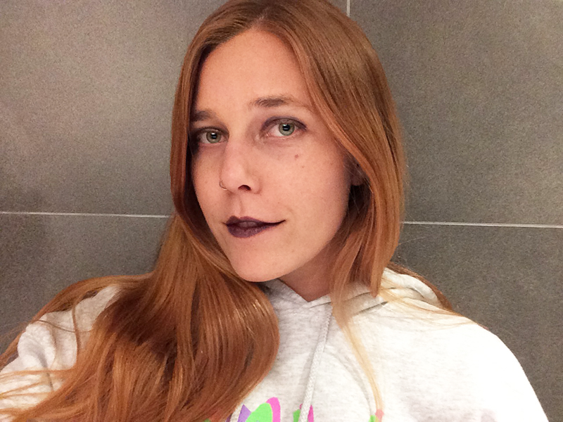 Girl wearing black eyeshadow and black lipstick