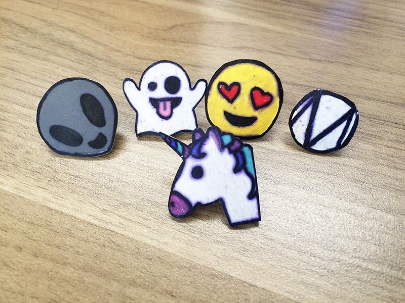 Set of DIY emoji pins