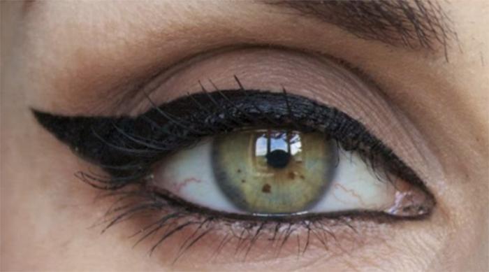 Winged eyeliner done on upturned eyes