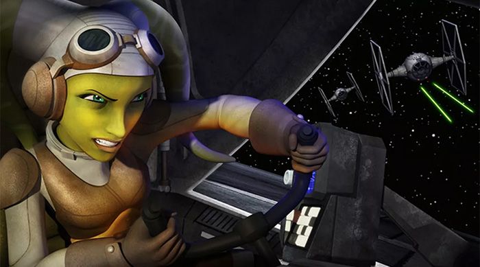 Hera Syndulla piloting a ship in Star Wars Rebels