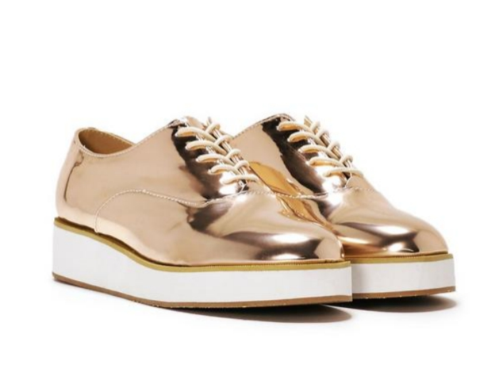 Gold metallic oxfords