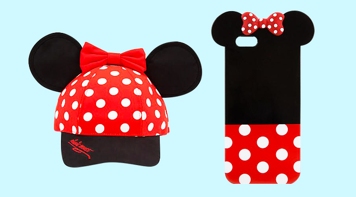 Minnie Mouse baseball hat next to a Minnie Mouse iPhone case