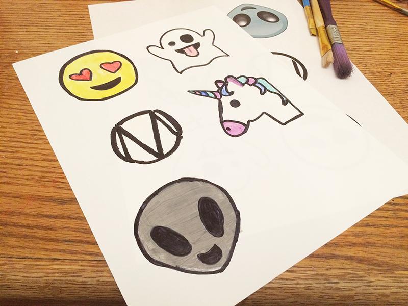 DIY emoji pins painted