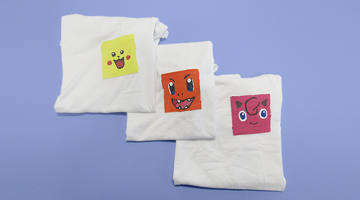 Pokémon Pocket Tees: Pikachu, Charmander and Jigglypuff