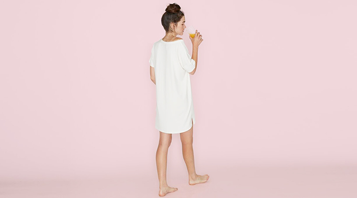 Recliner Bamboo Night-Tee Sleep Dress on pink background