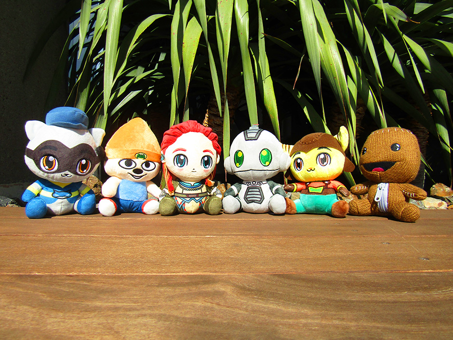 Stubbins Playstation Plushies: Sly Cooper, Parappa the Rapper, Aloy, Ratchet, Clank, Sackboy