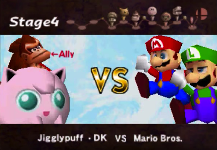 Super Smash Bros 64: Jigglypuff and Donkey Kong vs Mario and Luigi