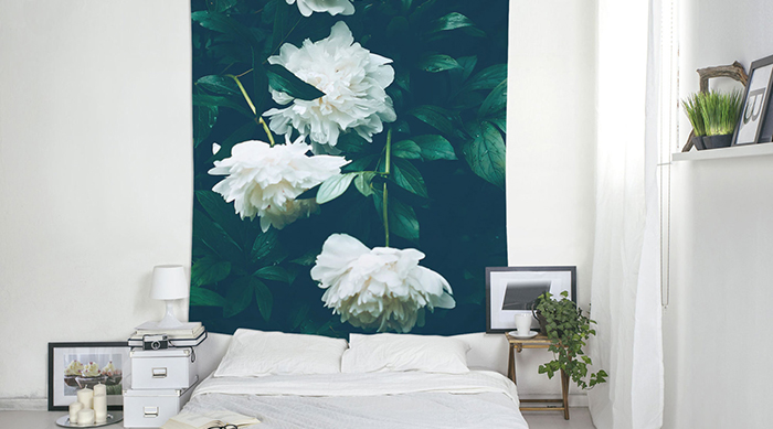 White flowers tapestry from Etsy