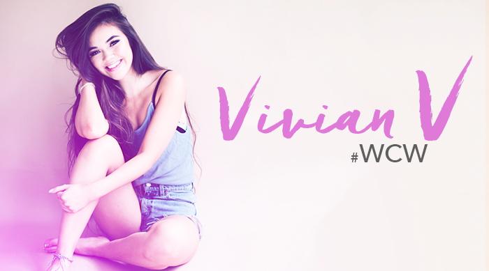 youtube star vivian v poses in a tiny white top