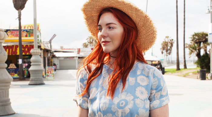 Red head fair skin sun protection hat sunscreen