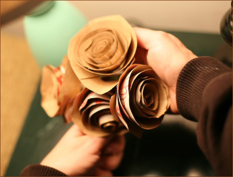 recycled paper bag eco-friendly bouquet flowers