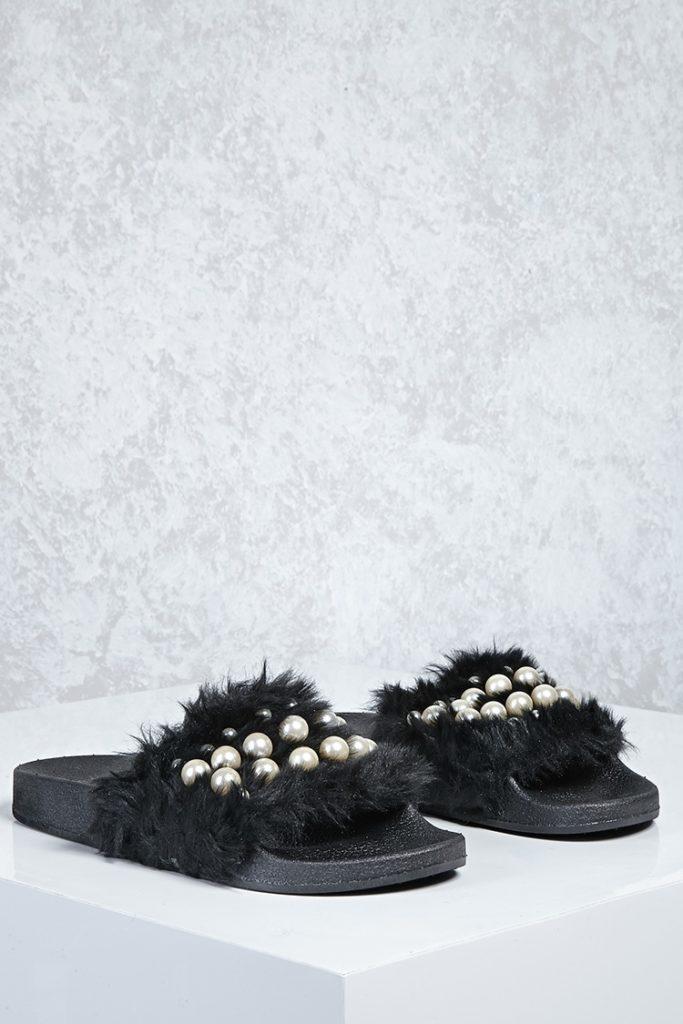 Forever 21 Pearl Flat Slide Sandals