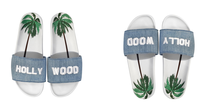 Fashion slide sandals Hollywood Sign joshua sanders flats