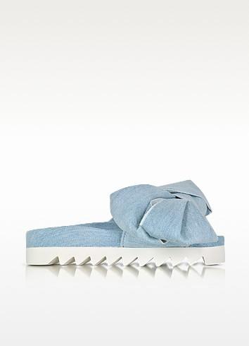 Joshua Sanders denim flat slide sandal