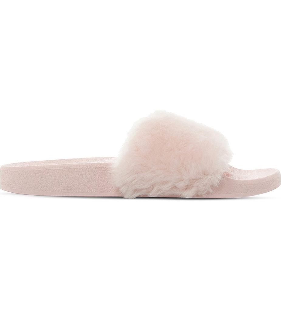 Steve Madden pink faux fur slides
