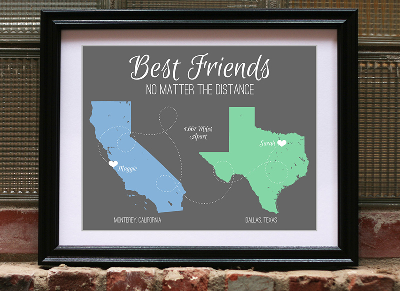 Best friends no matter the distance print from Etsy