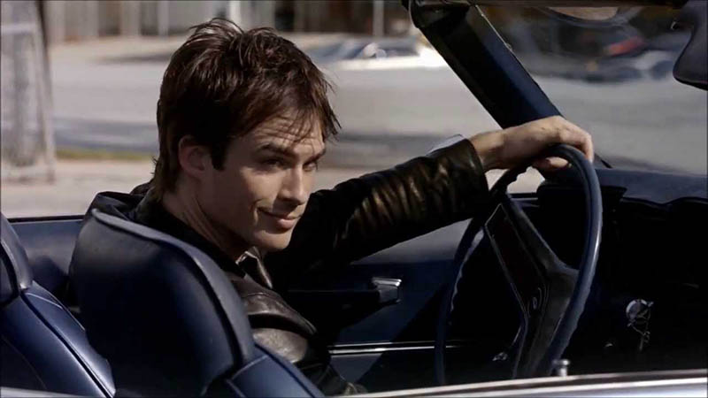 Damon Salvatore from The Vampire Diaries driving his car