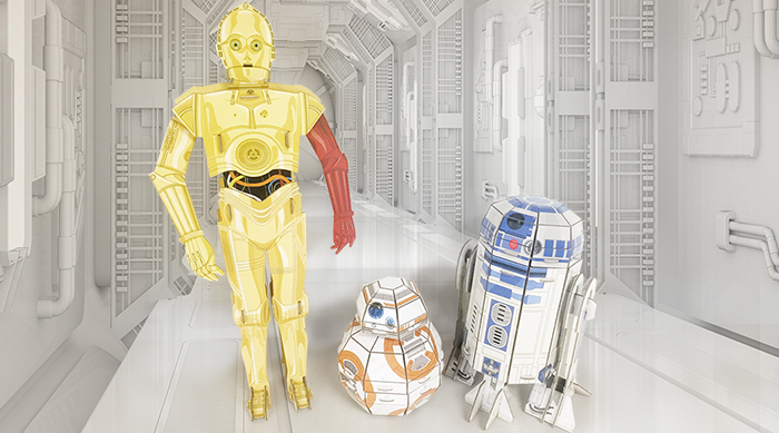 BB-8 Star Wars Builders Droids C-3PO, BB-8 and R2-D2 in space hallway