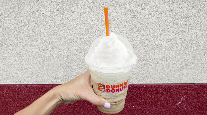 Brittney trying Dunkin' Donuts S'mores Frozen Coffee