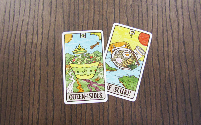 Salad and Ramen food tarot cards