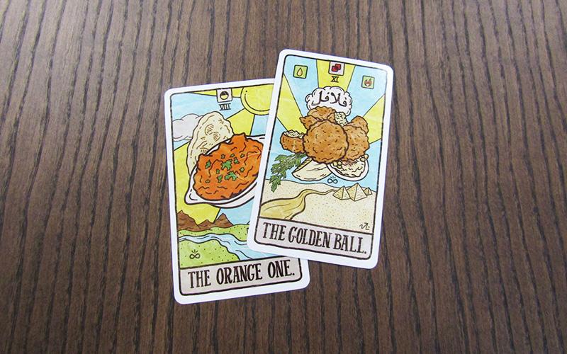 Chicken tikka masala and falafel food tarot cards