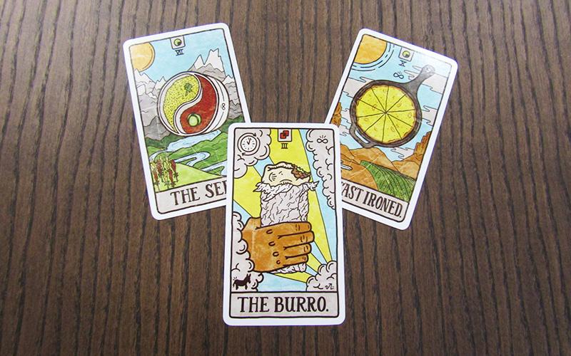 Burrito, Quinoa and Cornbread tarot cards