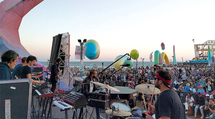 Band performing at the Twilight Concerts at the Santa Monica Pier