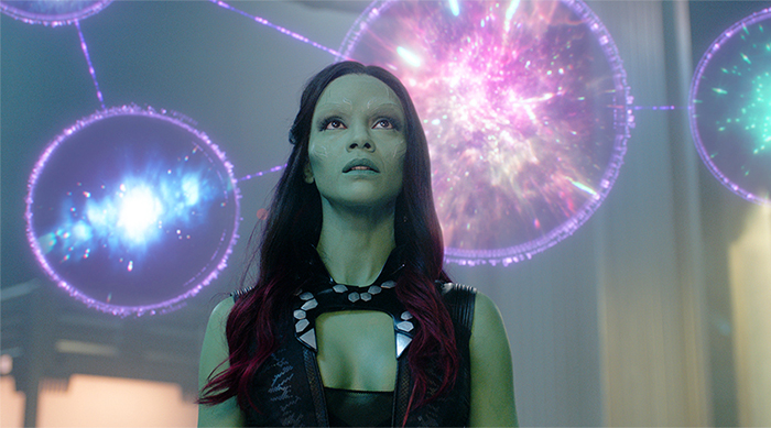 Zoe Saldana as Gamora in Guardians of the Galaxy