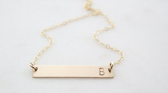 Gold bar necklace with a 'B' initial