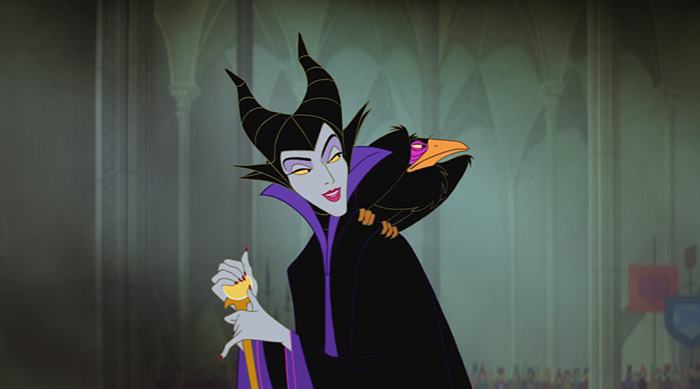 Maleficent with her crow perched on her shoulder in Disney's Sleeping Beauty