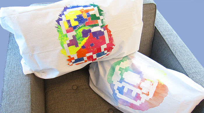 Mario and mushroom pixel DIY pillow
