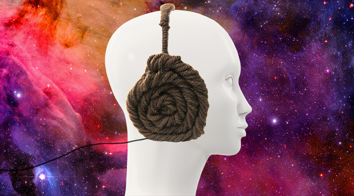 DIY Princess Leia Headphones on mannequin head