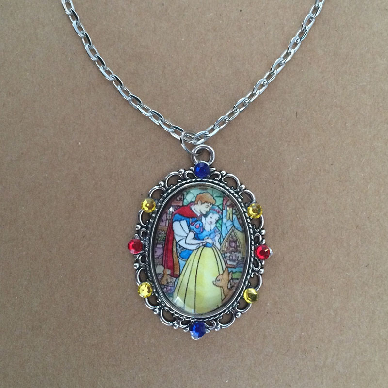 Snow White and Prince Charming stained glass necklace