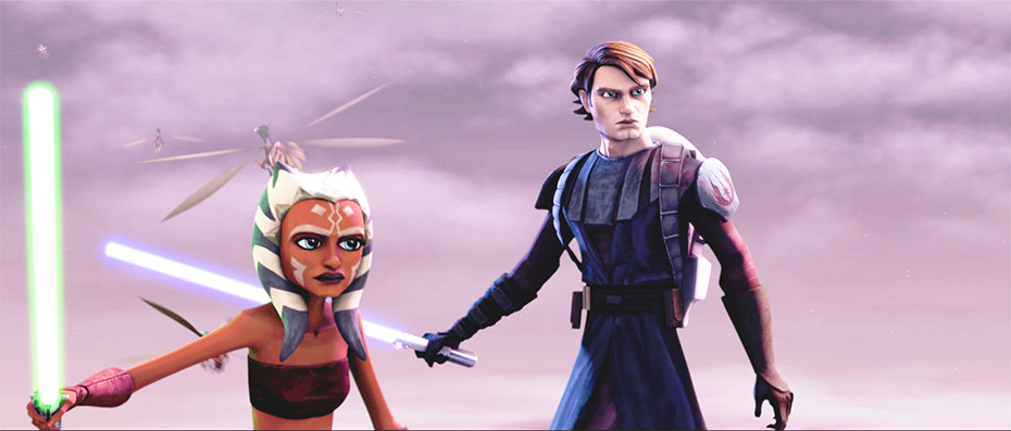 Star Wars the Clone Wars Anakin Skywalker and Ahsoka Tano with lightsabers