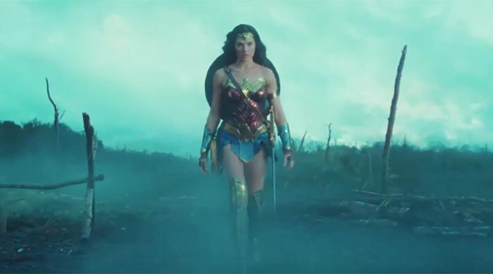 Wonder Woman in smoke
