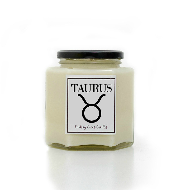 Taurus zodiac sign candle