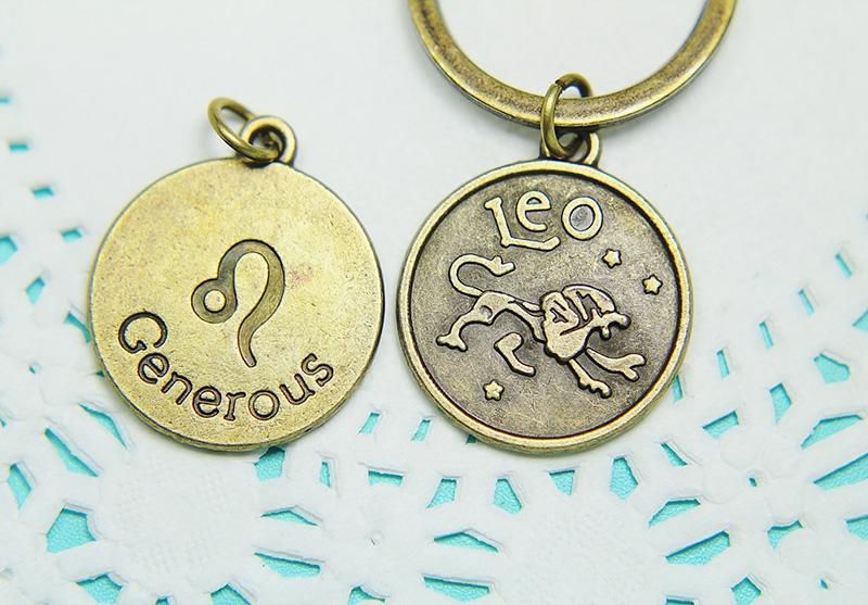 Leo symbol zodiac sign keychain