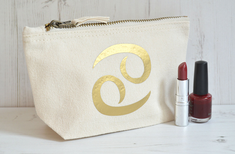 Cancer zodiac sign makeup bag