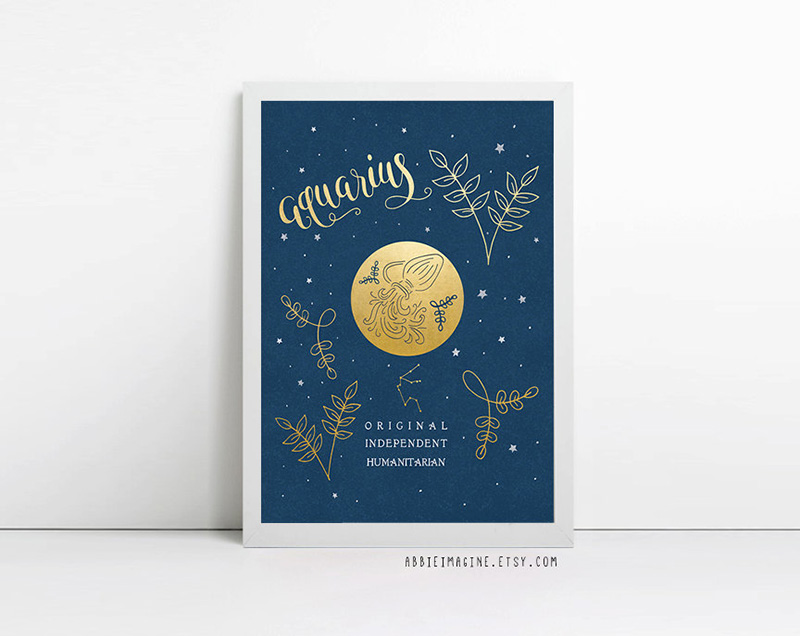 Aquarius zodiac sign print